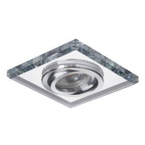 Oprawa sufitowa punktowa MORTA , kwadrat, szkło, srebrny