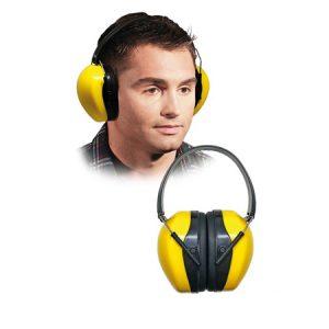 Ochronniki słuchu w żółtym kolorze z czarnymi dodatkami